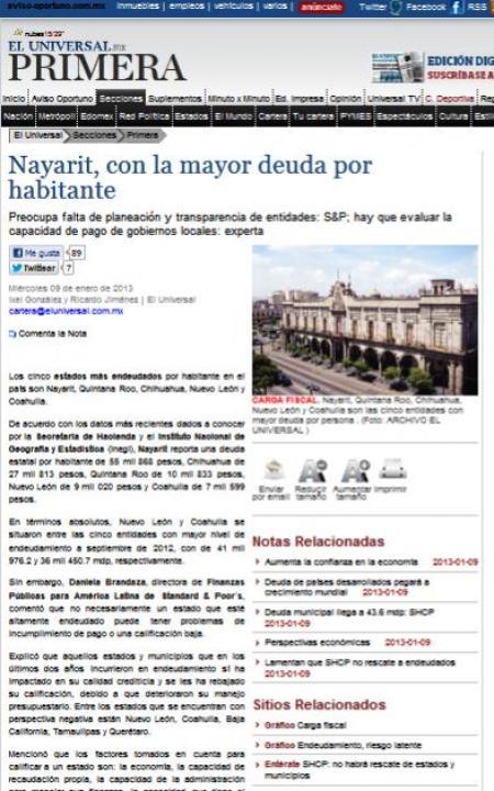 Falsa información de El Universal al situar a Nayarit con mayor ...