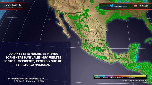 Prevalece el potencial de lluvias en la mayor parte del país