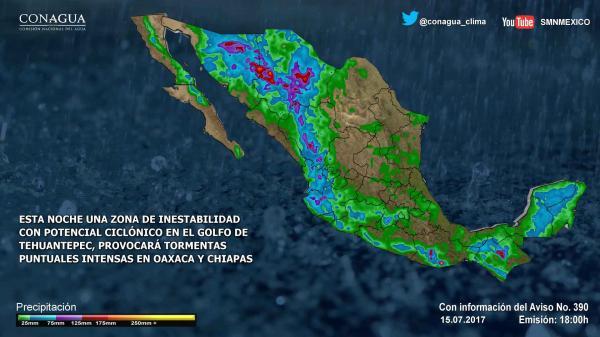 Pronóstico del clima en México para viernes 14 de julio del 2017