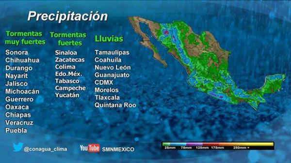 Pronostican lluvia en la CDMX durante la tarde noche